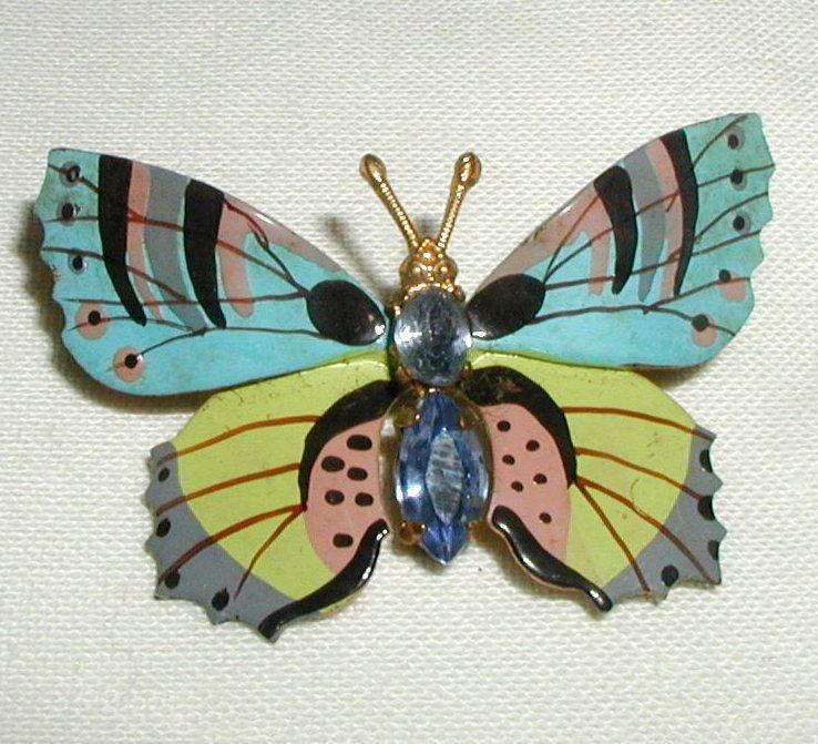 Czechoslovakian Hand Painted Enamel Butterfly Pin