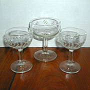 Three 1950's Cocktail Glasses