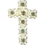 Carved French Ivory or Celluloid Edelweiss Flower Cross Pin