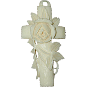 Carved French Ivory or Celluloid Cross Pendant with Rose