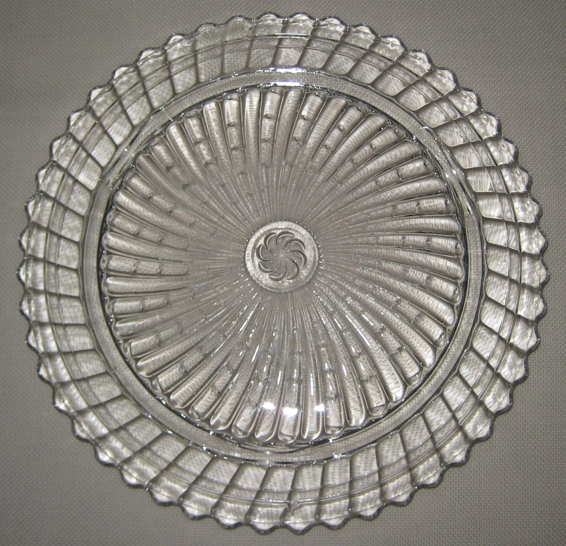 Depression Glass Cake Plate - Swirl Pattern