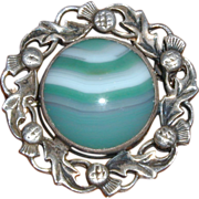 John Hart Iona Celtic Revival Sterling Silver Brooch with Banded Agate - Signed