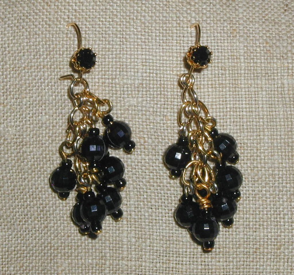 Basic Black Beaded Earrings