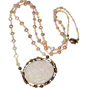 Pale Pink Scenic Shell Cameo Necklace with Freshwater Pearls and Crystal Beads