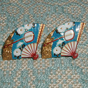 Toshikane Chrysanthemum and Shamisen Fan Earrings