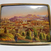 Swiss Miniature Scene on Porcelain Brooch circa 1840