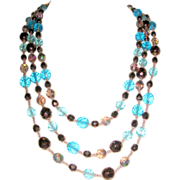 Three Tier Glass Beaded Necklace - Blue, Copper Brown