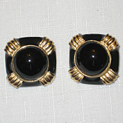 Vintage Signed Gay Boyer  Black Enamel and Gold-tone Clip Earrings