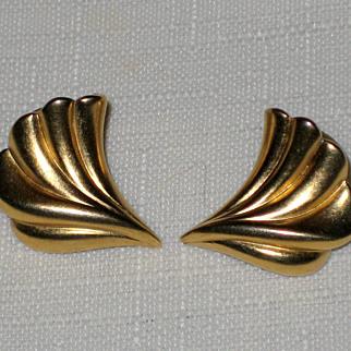 SALE Wing-like Burnished Gold-Tone Pierced Earrings