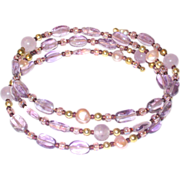 Amethyst, Freshwater Pearl and Glass Bead Memory Wire Stack Bracelet
