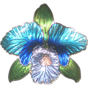 Enameled Blue Orchid Brooch