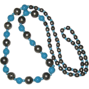"28"" Necklace of Ceramic Blue, Silver-tone and Blue Glass Beads"