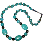Chunky Turquoise and Silvertone Bead Southwestern Style Necklace 22""