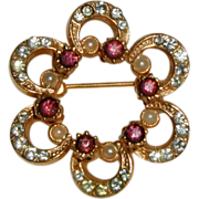 Gold-tone Rosette Pin with Rhinestones, Amethyst Rhinestones and Costume Pearls