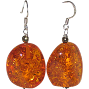 Reconstituted Amber Nugget Earrings with Sterling Silver Wires