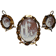 Victorian Scenic Shell Cameo Brooch and Earrings in Ornate Gold Filled Setting, Circa 1860