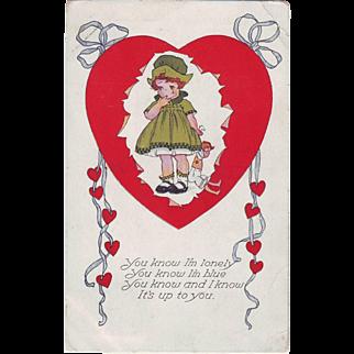 1910 Vintage Valentine Postcard - Lonely Girl