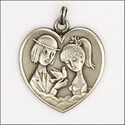 French Silver Peynet Lovers Heart Pendant