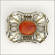 European Arts & Crafts Silver Leaf Carnelian Agate Large Pin