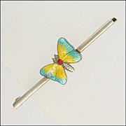English Art Deco Silver Enamel Butterfly Bar Pin