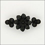 Victorian Whitby Jet Carved Flower Pin