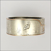 Victorian Aesthetic Silver and Gold Overlay Cuff Bracelet