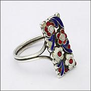 Art Deco Silver Enamel Ring - unsigned BERNARD INSTONE-England