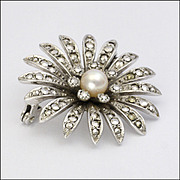 830S Silver Marcasite and Cultured Pearl Pin - Germany