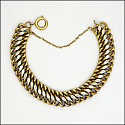 French Antique Gold Washed Silver Curb Bracelet