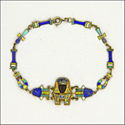 Egyptian Revival Silver Enamel Pharaoh Bracelet - Boxed
