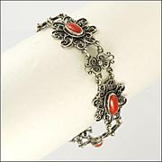 Coral  Cabochon and Silver Filigree Bracelet circa 1910-1920