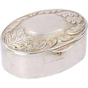 French Silver Oak Leaves Pill Box -Minerva's Head Hallmark