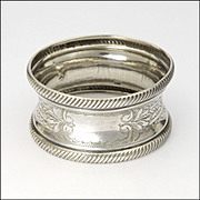 French Silver Engraved Napkin Ring - Minerva's Head