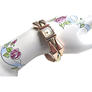 14Kt. Gold Retro Bracelet Watch - Rose & Yellow Gold 1940's Estate Ladies Swiss Watch 38.9 Grams