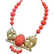 "Vintage 1970 Figural Fantasy Birds Faux Coral Bead Necklace  17"" Long"