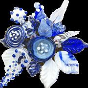 SALE Gorgeous, Unique, Glass Corsage in the Colors of Delft