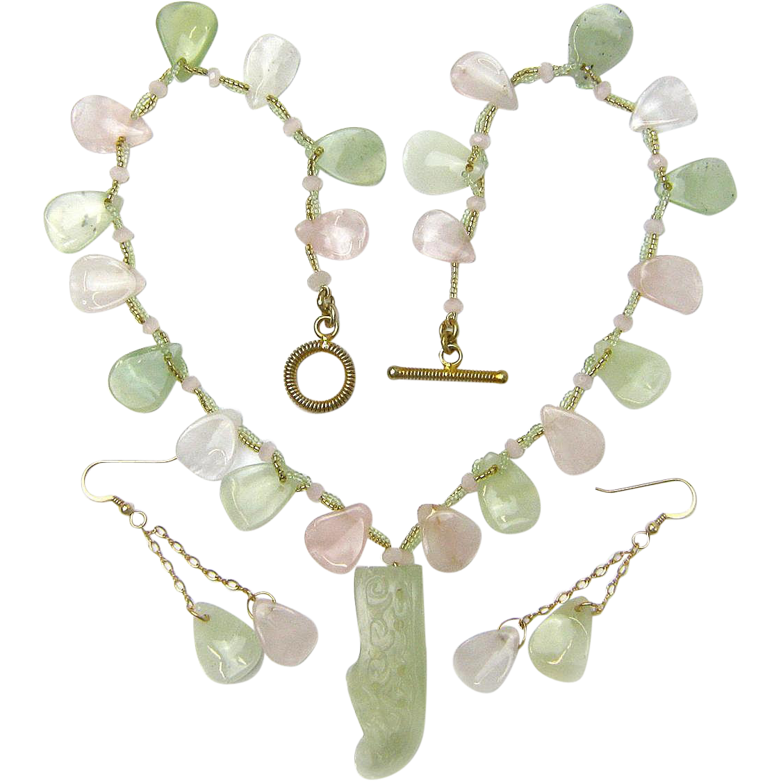 Rose Quartz & New Jade Necklace  w/ Carved Shoe Pendant