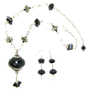 Sparkling Sterling & Onyx Necklace w/ Huge, Faceted Onyx Pendant