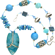 Gorgeous Multi-Stone Necklace in Colors of Marine Life