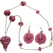 Heart Necklace Set w/ Handmade Lampworked Beads