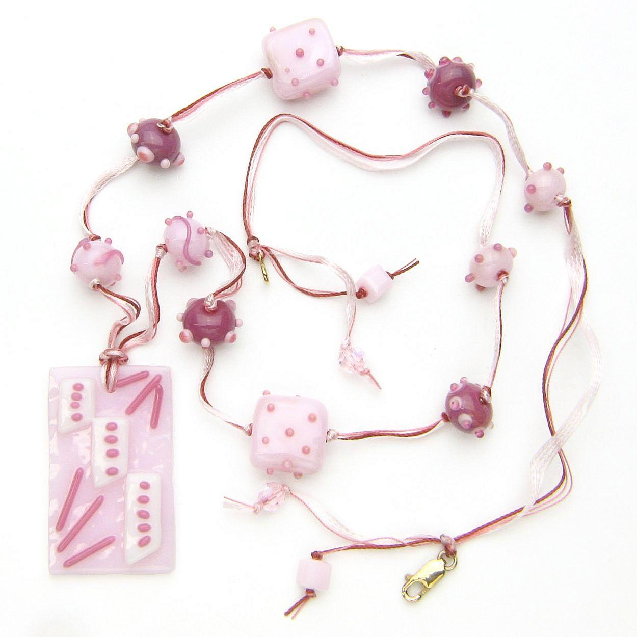 """""""Beribboned in Pinks"""" Necklace with Our Own Lampwork and Fused Glass"""