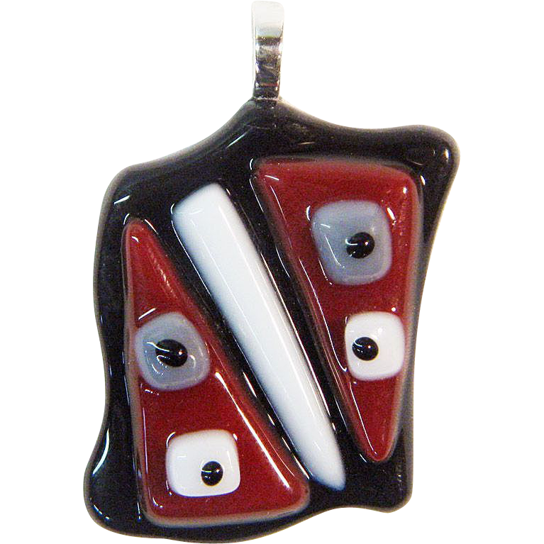 Surrealist Art Fused Glass Pendant Component w/ Bail – Ready to String