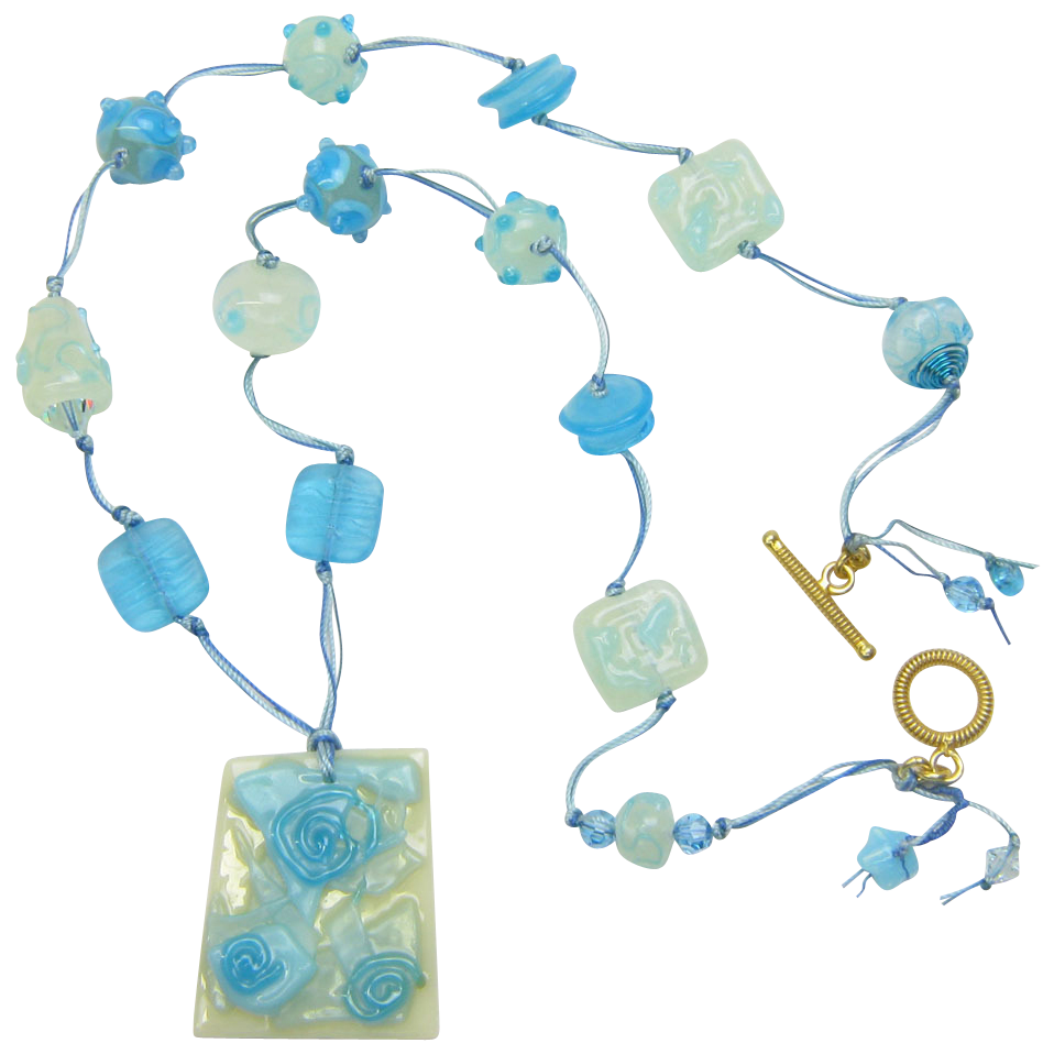 Shades of Turquoise & Cream Necklace w/ Handmade Lampworked Beads