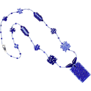 Valentine Gift! Two-Tone Blues in a Charming Necklace w/ Our Own Lampworked Beads
