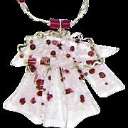 SALE Sweet, Handmade Pink & Fuchsia Necklace w/ Matching Earrings