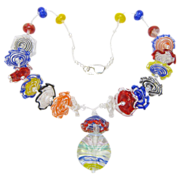SALE Lampworked Glass Ruffles Beads, Multi-Colored Necklace, Artisan Crafted at Sweetpea Cotta