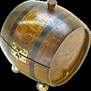 Wooden Barrel Cigarette Box or Humidor, Ca. 1920