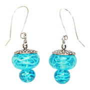 Valentine gift! Swirly Turquoise Earrings in Sterling with Lampwork Beads