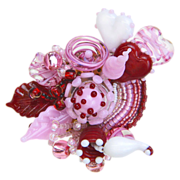 SALE Valentine Gift! Wonderful Sweetheart Corsage Brooch/Pin in Handmade Lampwork Beads