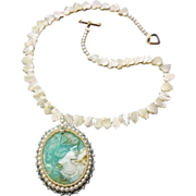 SALE Valentine Gift! Cameo Pendant w/ Hand-Beaded Bezel on Mother of Pearl Necklace, Victorian